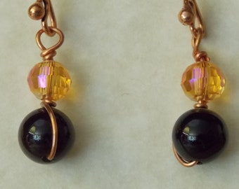 Swarovski Sunflower Crystal and Black Beaded Copper Wire Wrapped Earrings