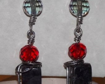 Red Sterling Silver Dangle Earrings Hand wrapped One of a Kind Artisan Jewelry