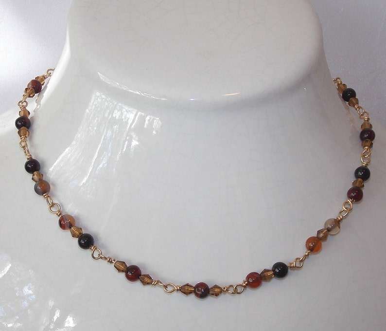 12Kt Gold-filled Necklace and Earring Set Striped Red Agate Gold Celestial Crystal Faceted Bicone Beads