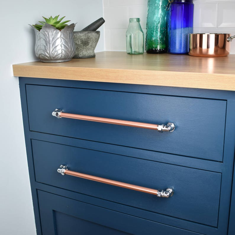 Industrial Copper And Chrome Pull Drawer Pulls Cabinet Etsy
