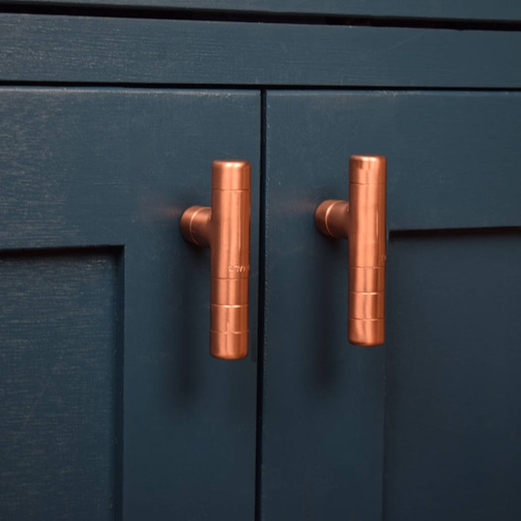 Modern Copper T Bar Knob Contemporary Drawer Pull Handle Etsy