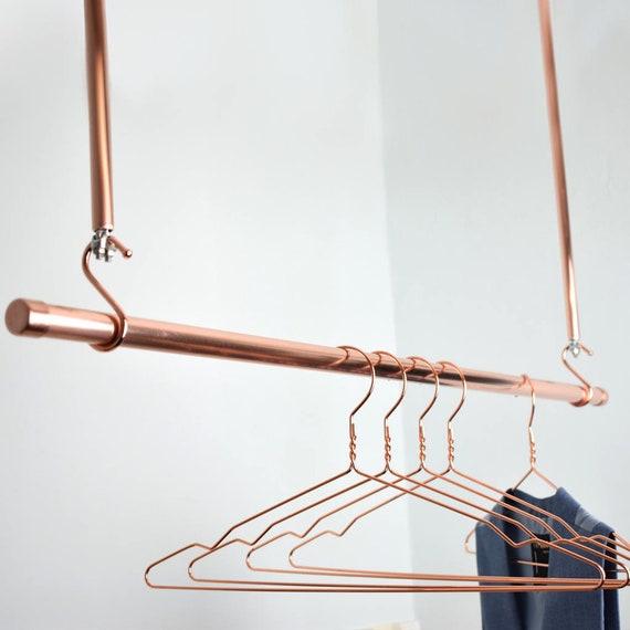 Kupfer Kleiderstange Hängen Gestell Kleidung Stange Kupfer Etsy