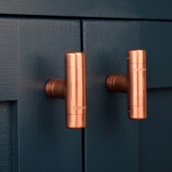 Modern Copper T Knob Contemporary Drawer Pull Handle Knob Etsy