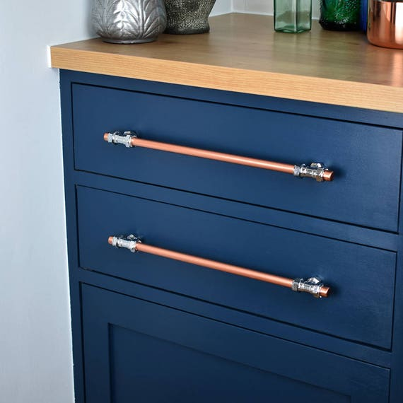Modern Copper And Chrome T Pull Handle Drawer Pull