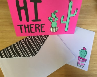 Cactus Card +envelope. Thinking of you illustrated Hi Cacti cactus note card. Stationary 4 cactus lovers Birthday, Thank you, Housewarming.