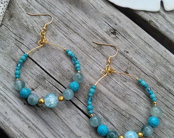 FREE SHIPPING! Turquoise & Aqua Hoop Earrings w/Gold Accents