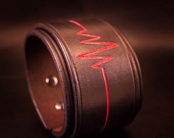 "Handmade leather cuff ""Heartbeat"" bracelet hand dyed"