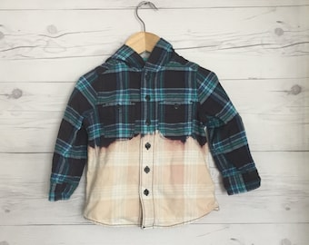 Plaid Upcycled dip dyed top **ready to be customized** Large