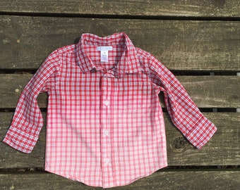 214015c2f962 Upcycled - 18-24 Months Shirt Plaid Dip Dyed Long Sleeve Button up Shirt  Hipster Hippie Boho Baby Toddler Kids Boys