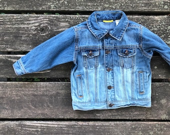 18 Months Jean Jacket Dip Dyed Long Sleeve Button up Distressed Demin Hipster Hippie Boho Toddler Kids Unisex Boys Upcycled