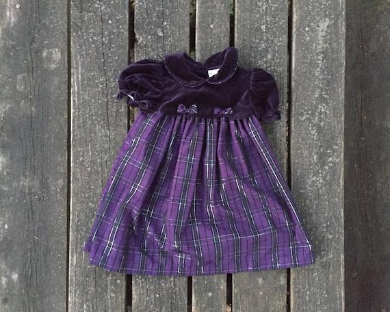 Girls Velvet Plaid Checkered Dress Baby Toddler Kids Christmas Wedding Holiday