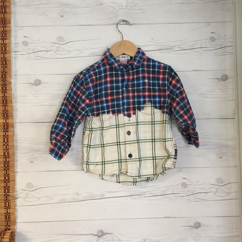Upcycled Medium Shirt Plaid Flannel Dip Dyed Long Sleeve Button up Distressed Shirt Hipster Hippie Boho Toddler Kids Boys