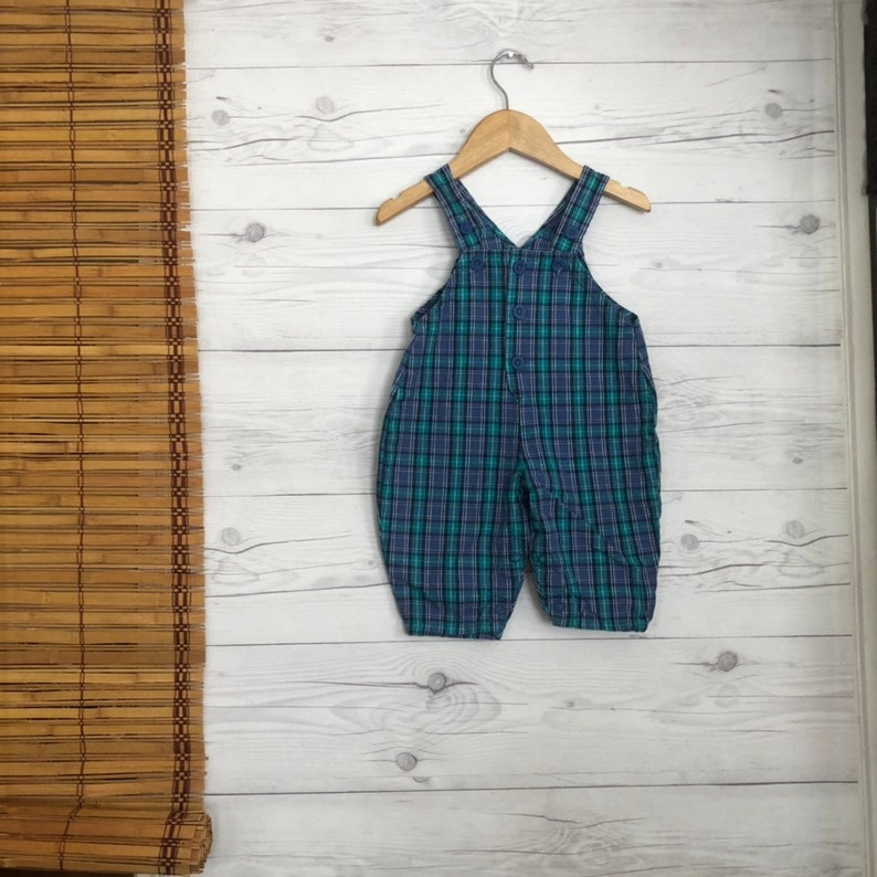 fc2f2facf2ba Vintage 6-9 Months Overalls Plaid Romper Pants Baby Toddler