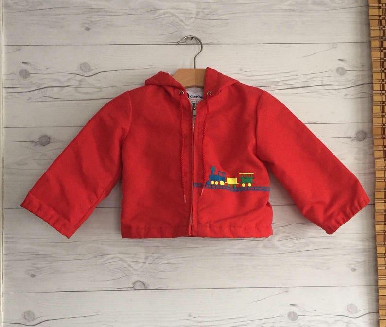 d86b16f64e31 Vintage 12 18 Months Jacket Hooded Zipper Train Red Long