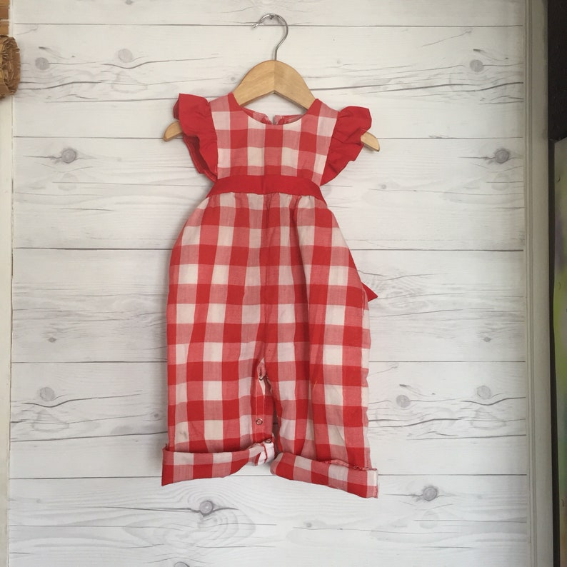 dcfd6cb69 Vintage 12-18 Months Overalls Checkered Pants Ruffle Country