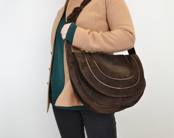 0bf5e1170fdd Vintage A. Valentino Suede Slouchy Saddle Bag Brown