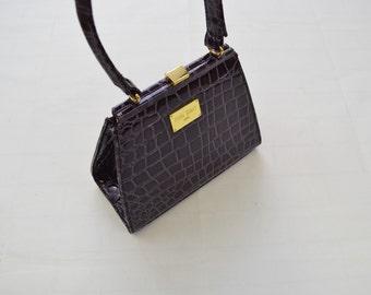 Edina Ronay Patent Top Handle Bag Purple Mock Croc e5d85067edb90