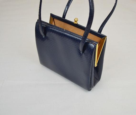 Vintage Leather Boxy Framed Handbag Blue Suede Elb