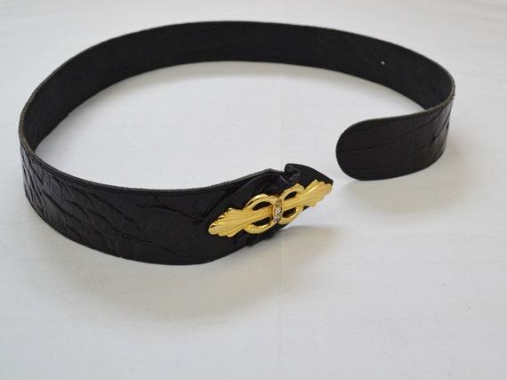 Vintage 1980s French deadstock black mock croc leather belt with wild cat gold hardware leopard vintage belt 85cm34 in Cheetah