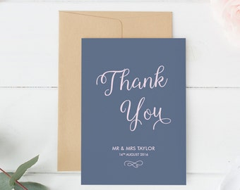 Wedding Thank You, Wedding Thank You Card, Wedding Thank You Gift, Typography Thank You Card, Minimalist Thank You Card, Chic Wedding