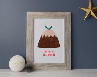 Illustrated Christmas Pudding Art Print