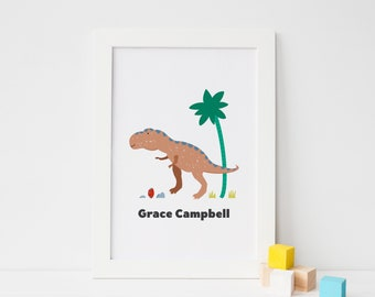 Personalised T Rex Dinosaur Print Gift