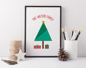 Personalised Family Christmas Tree Print