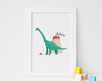 Diplodocus Dinosaur Kids Wall Art