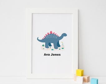 Personalised Stegosaurus Dinosaur Name Art
