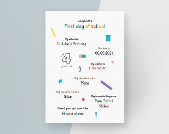 Personalised First Day of School Print