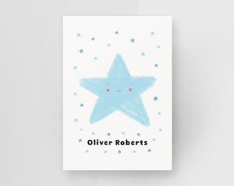 Personalised Star New Baby Print