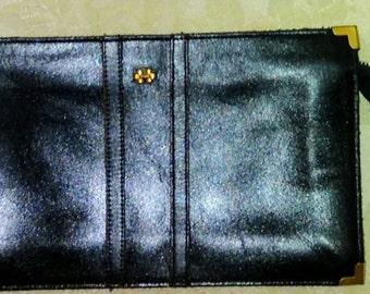 Vintage Dorcelle 1970's Clutch  Black Leather