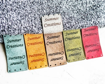 Washable Tags, Personalized Ultra Suede Tags, Custom Engraved Leather Knitting Tag Clothing Label Sew On Tag Personalize Labels for Knitting