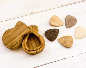 custom wood guitar picks in the guitar shaped box engraved wooden plectrum box personalized fathers day gift for musician for husband