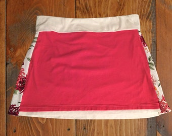 Coral with Side Flowers T-Shirt Skirt, Size  XL
