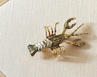 Vintage 60s Damascene Lobster Brooch Made in Spain