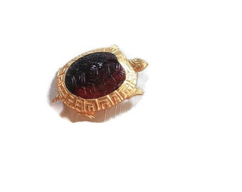 523668b1a9d Vintage 80s Turtle Brooch Gold Plated with Carved Amber Lucite Body by Karen  Lynne