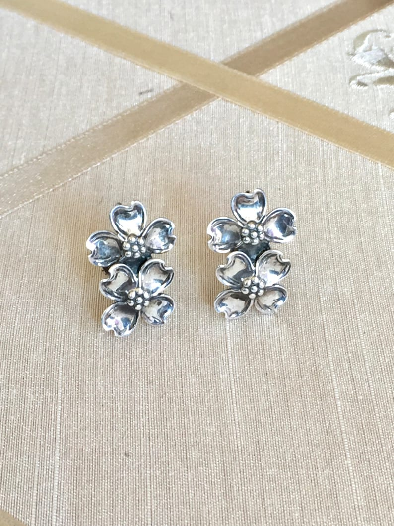 Vintage 40s Sterling Dogwood Earrings Screw Back with Double Dogwood Flowers