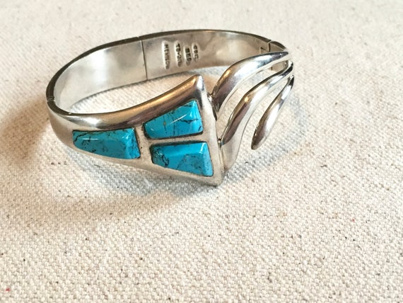 Vintage Taxco Mexico Turquoise Sterling Silver Southwestern Bracelet