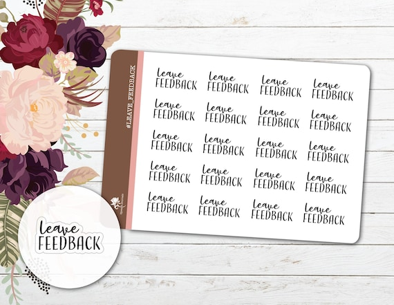 Leave Feedback Planner Stickers Ebay Auction Etsy Buyer Etsy