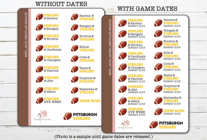 2019 Steelers Nfl Football Schedule Pittsburgh Regular Etsy