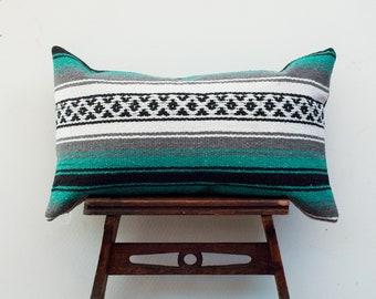 Teal Mexican Blanket Lumbar Pillow Cover, Bohemian Pillow, Ethnic Pillow Cover, Boho Pillow, Mexican Pillow Case, Serape