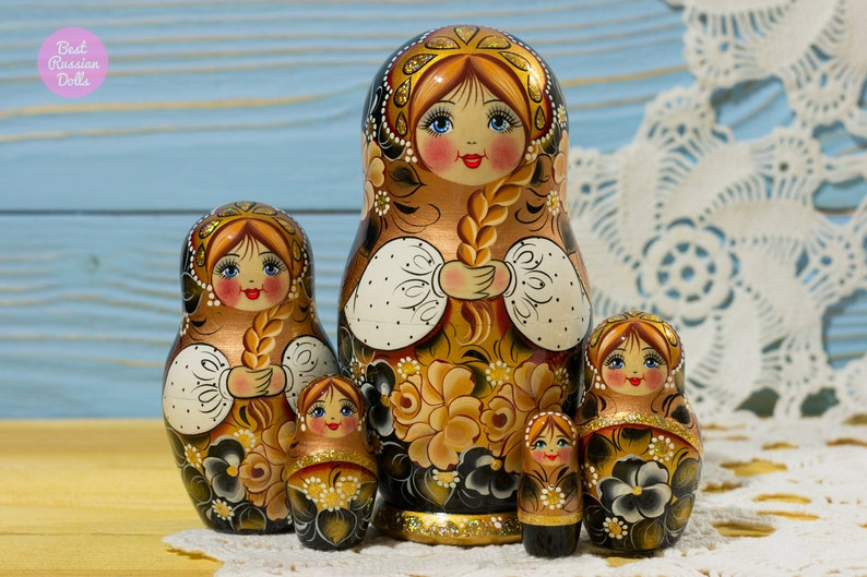 Matryoshka Cute Gift For Friend Handpainted Russian Nesting Doll Gift For Her Wooden Babushka In Black White And Gold Stacking Dolls