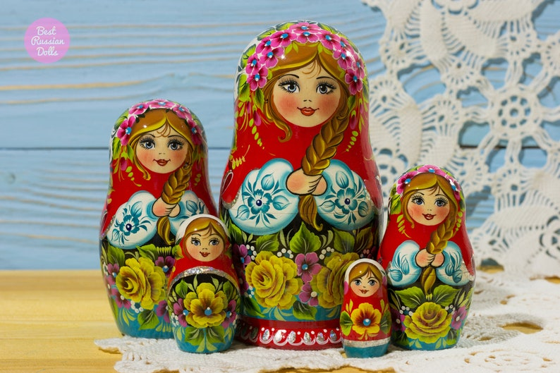 Russian Nesting Doll Gift For Mother Matryoshka Gift For Her Wooden Babushka In Red Blue And White Decor Gift For Woman Stacking Dolls