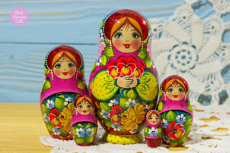 Hand Painted Babushka Gift Idea For Daughter Russian Nesting Doll Gift For Her Wooden Matryoshka In Pink Yellow And Red Folk Art Dolls