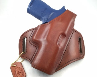 SIG p320 Carry/Compact/X-Carry/X-Compact with retention strap - Handcrafted Leather Pistol Holster