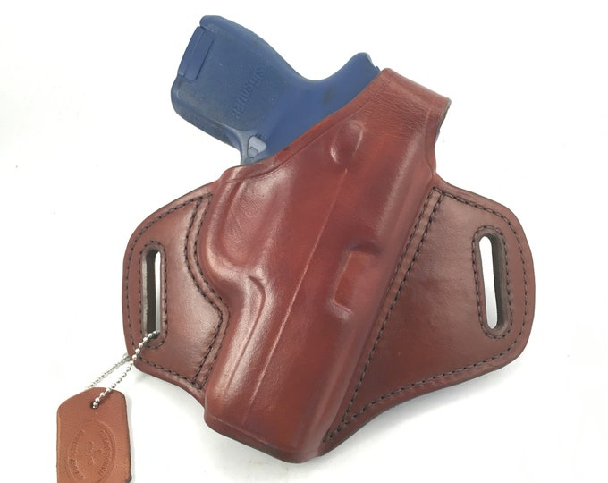 SIG p320 Sub-Compact with retention strap - Handcrafted Leather Pistol Holster