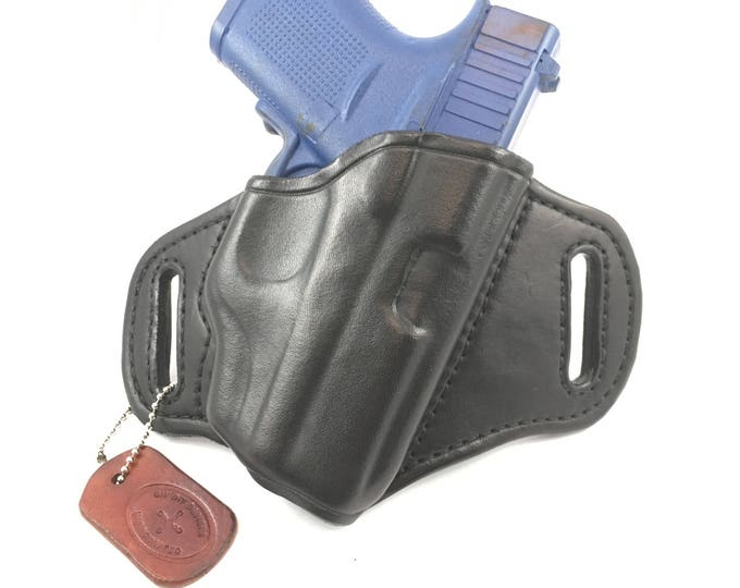 Glock 43 w/ LG-443/443G Crimson Trace - Handcrafted Leather Pistol Holster