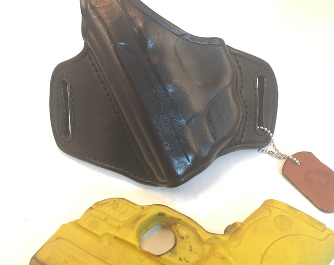 S & W MP Shield 40/9 w/ LG-489G Crimson Trace with retention strap (left) * Ready to Ship *- Handcrafted Leather Pistol Holster