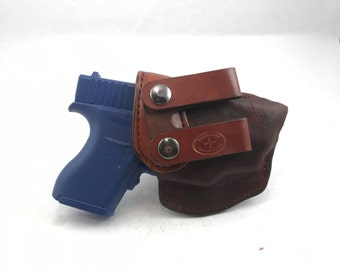 Glock 43 with LG-443/443G Crimson Trace IWB - Handcrafted Leather Pistol Holster